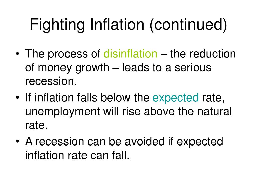 Fighting Inflation (continued)