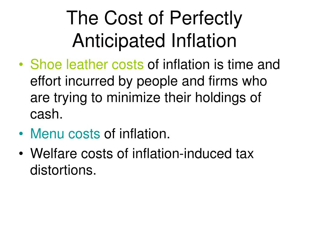 The Cost of Perfectly Anticipated Inflation