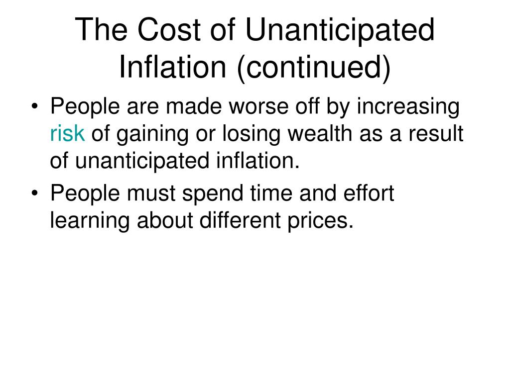 The Cost of Unanticipated Inflation (continued)