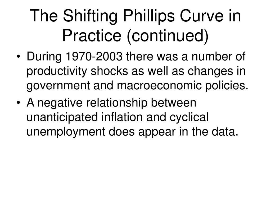 The Shifting Phillips Curve in Practice (continued)