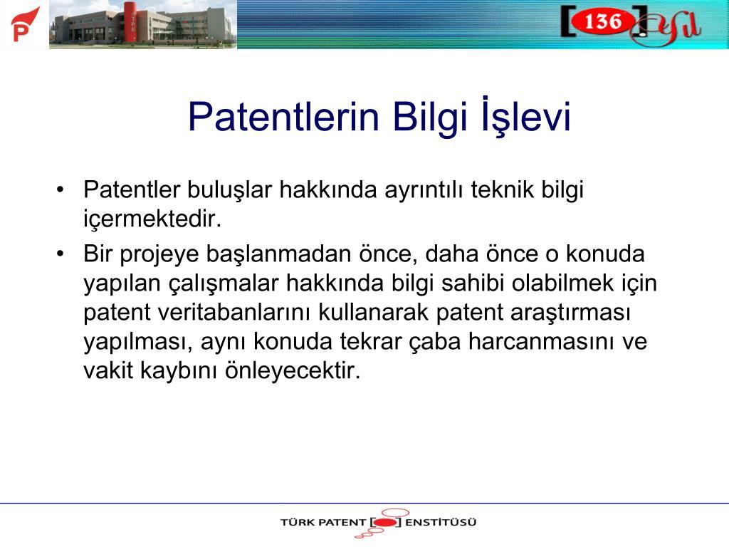 Patentlerin Bilgi İşlevi
