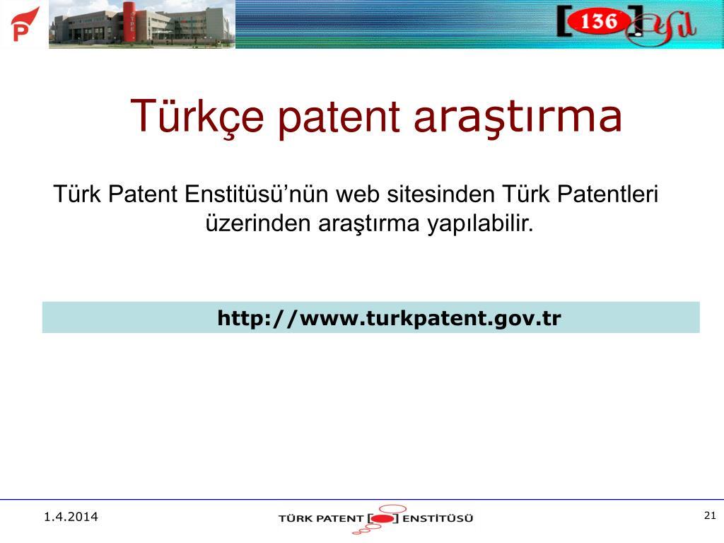 Türkçe patent a
