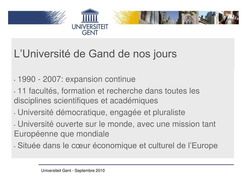 L'Université de Gand de nos jours