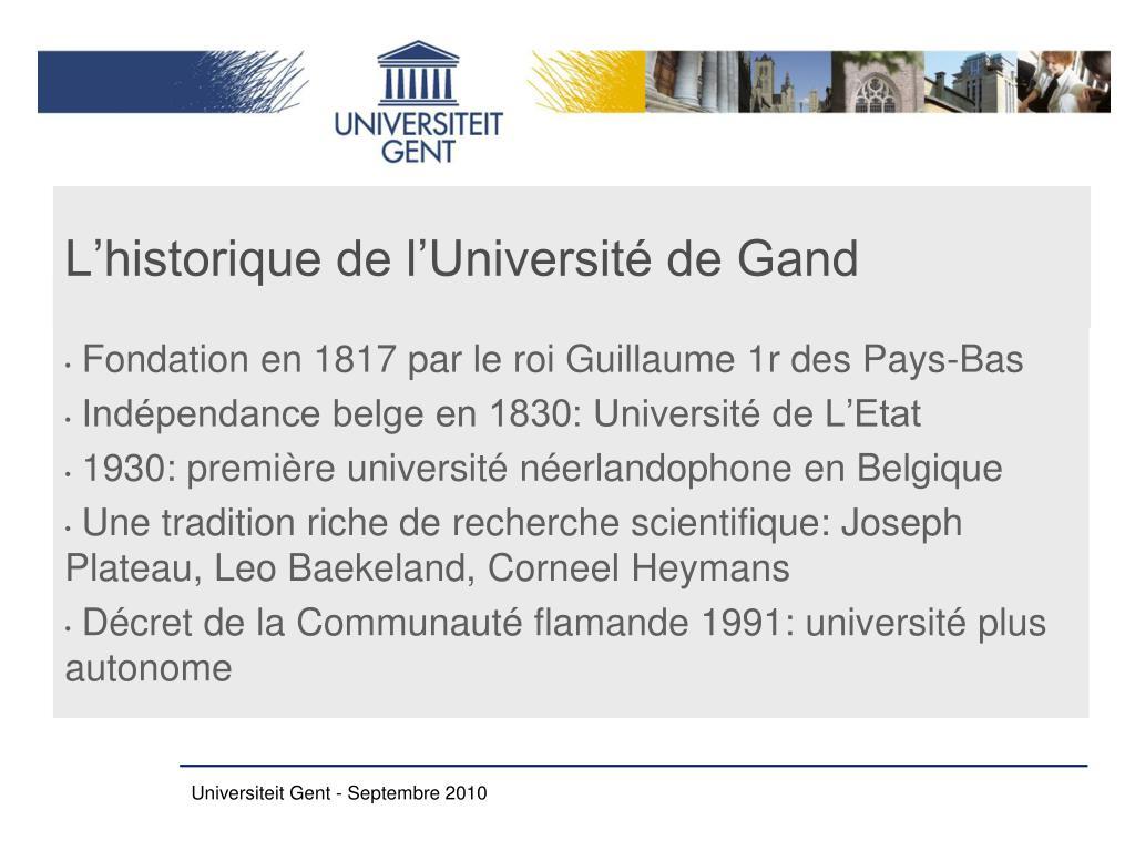 L'historique de l'Université de Gand