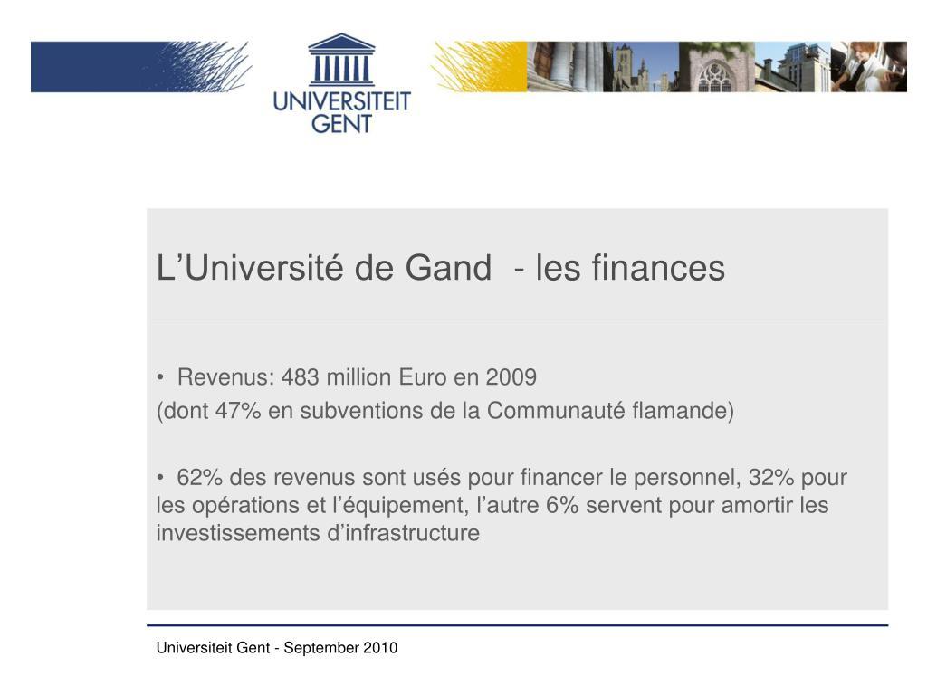 L'Université de Gand  - les finances