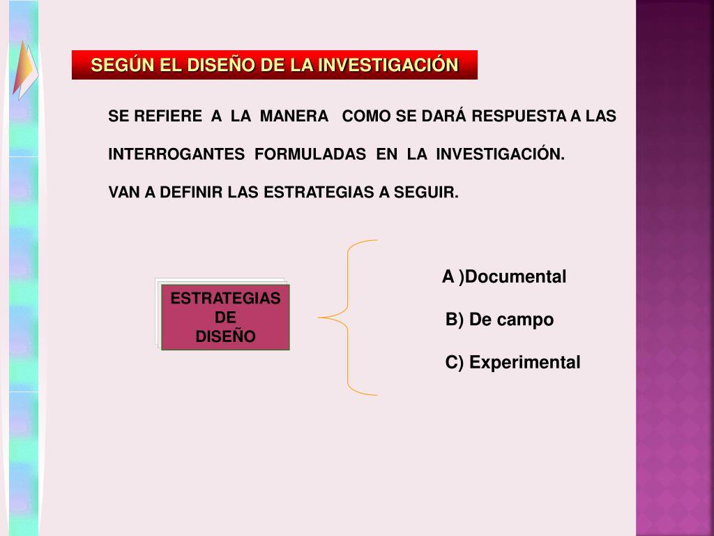 SEGÚN EL DISEÑO DE LA INVESTIGACIÓN