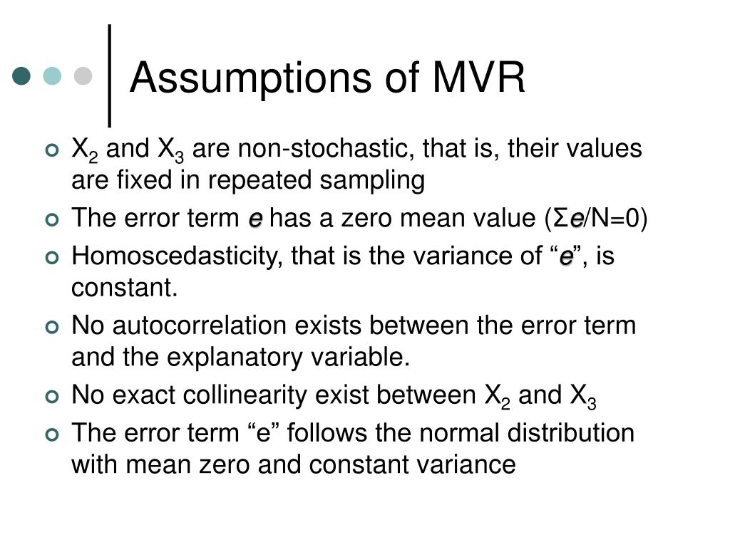 Assumptions of MVR