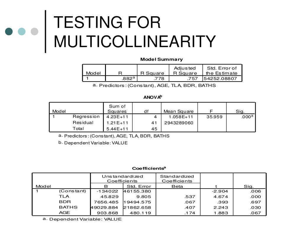 TESTING FOR MULTICOLLINEARITY