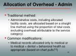 allocation of overhead admin