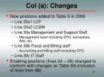 col a changes