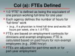 col a ftes defined