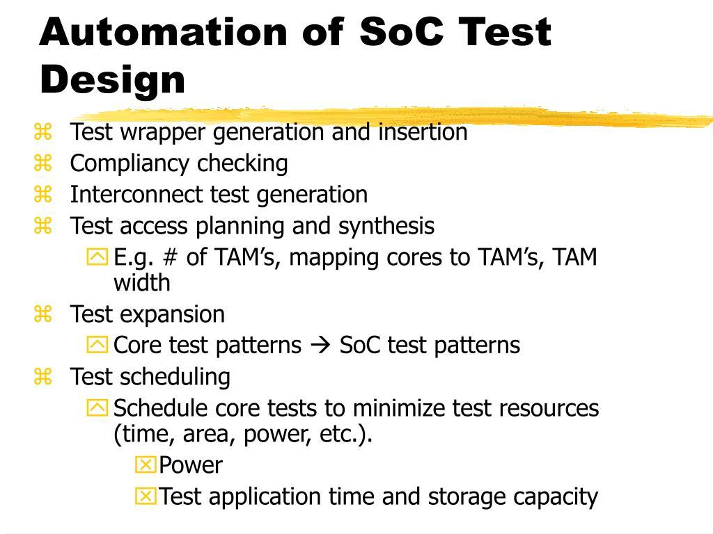Automation of SoC Test Design