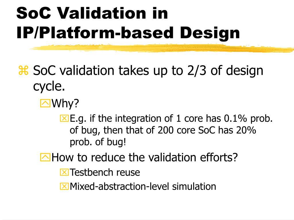 SoC Validation in IP/Platform-based Design