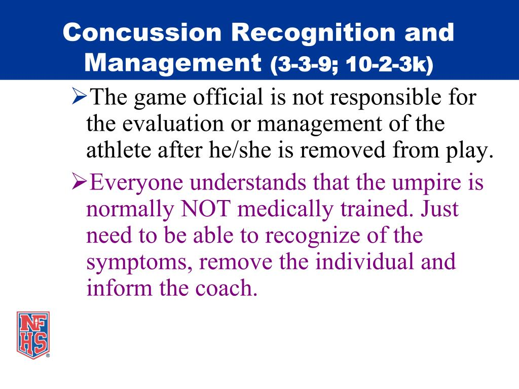 Concussion Recognition and Management