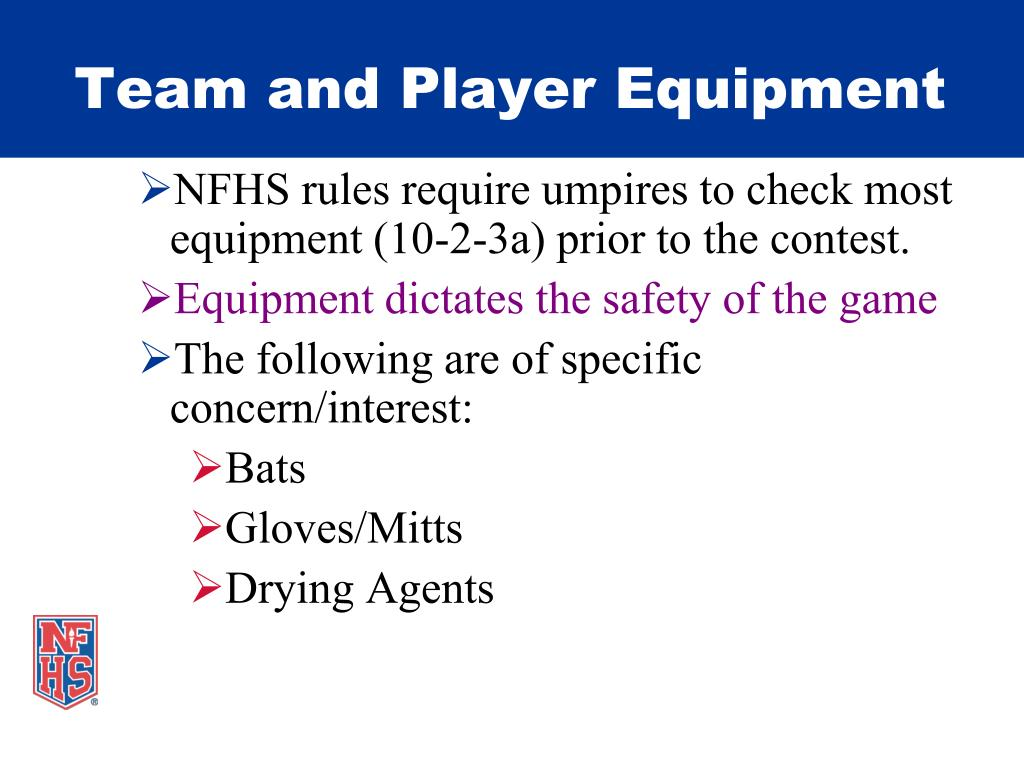 Team and Player Equipment