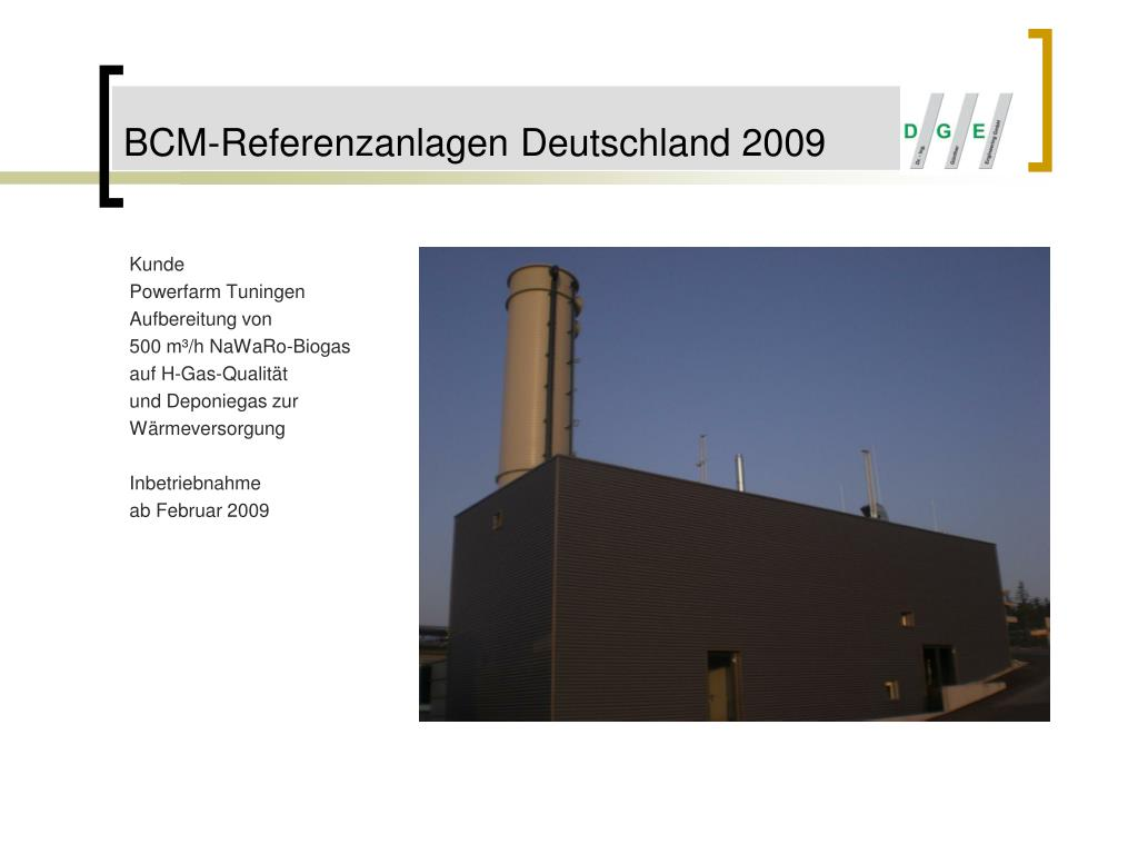 BCM-Referenzanlagen Deutschland 2009