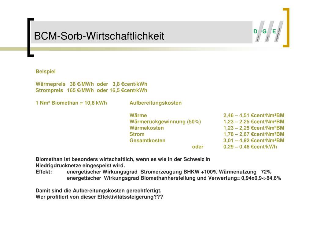 BCM-Sorb-Wirtschaftlichkeit