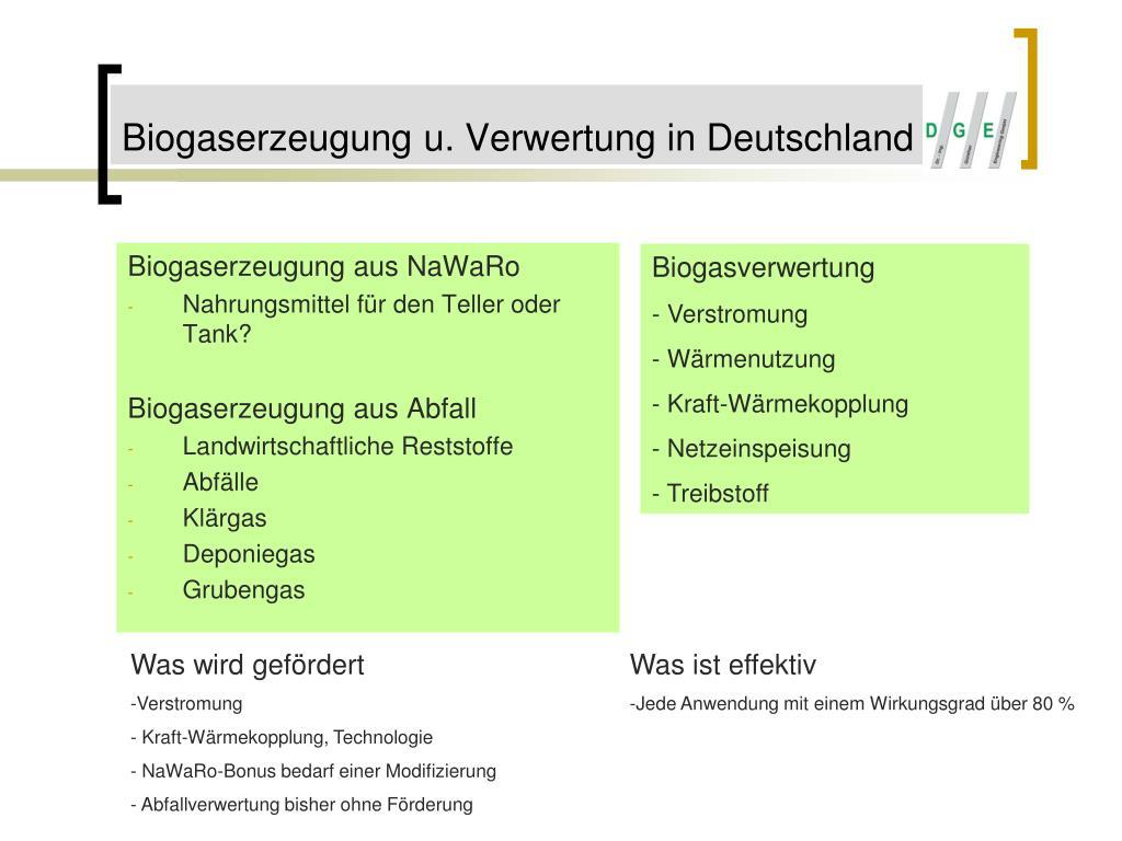 Biogaserzeugung u. Verwertung in Deutschland