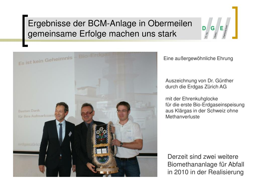 Ergebnisse der BCM-Anlage in Obermeilen