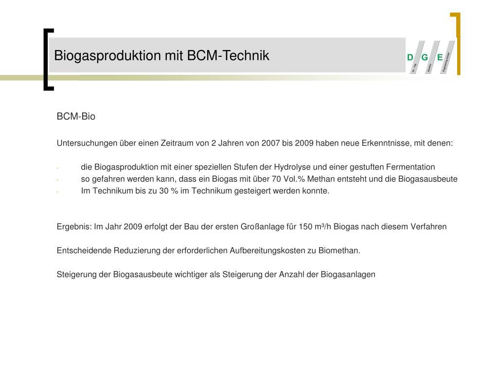 Biogasproduktion mit BCM-Technik