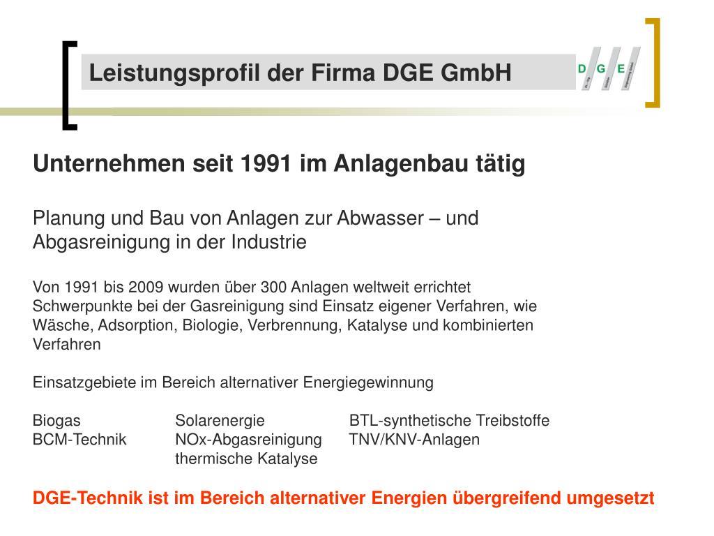 Leistungsprofil der Firma DGE GmbH
