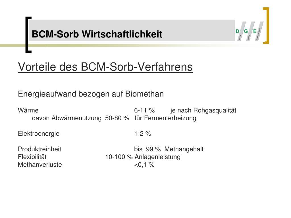 Vorteile des BCM-Sorb-Verfahrens
