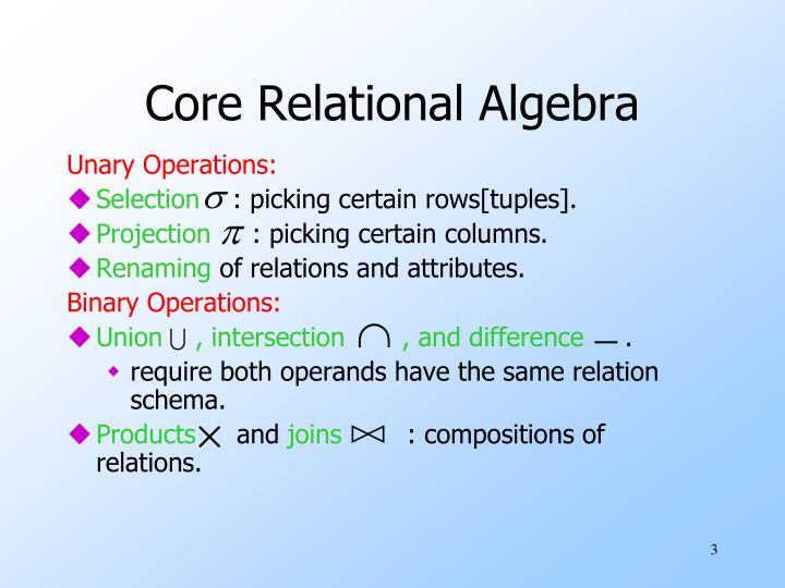 Core relational algebra