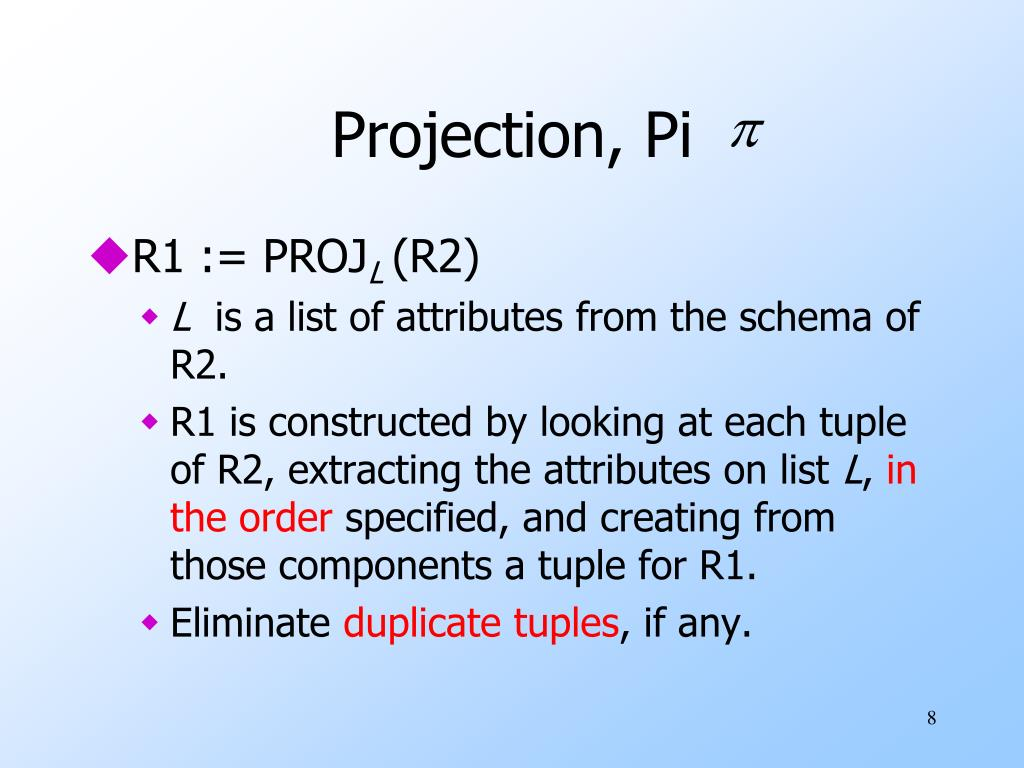 Projection, Pi