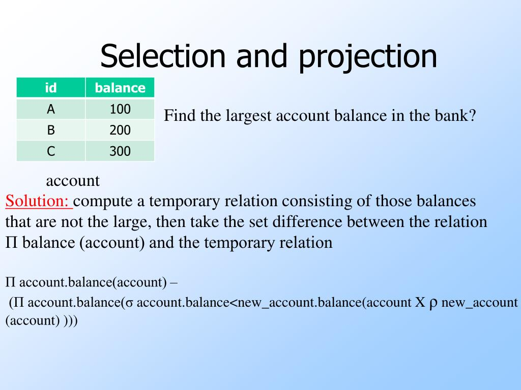 Selection and projection