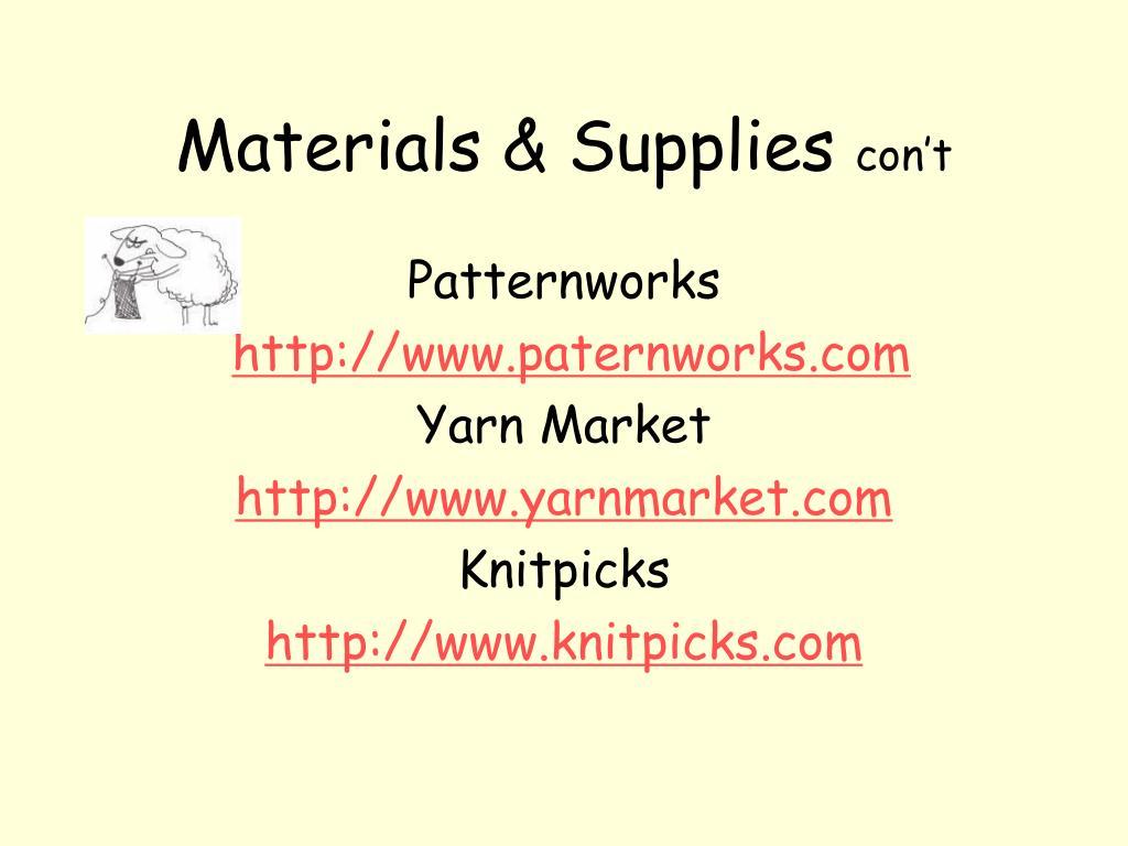 Materials & Supplies
