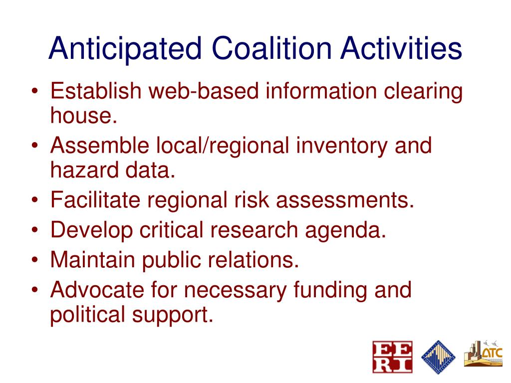 Anticipated Coalition Activities