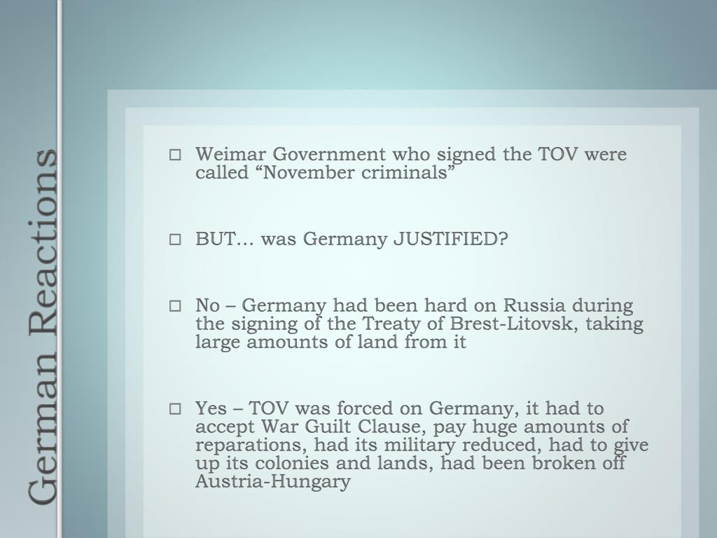"""Weimar Government who signed the TOV were called """"November criminals"""""""