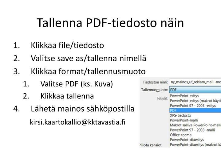 Tallenna pdf tiedosto n in