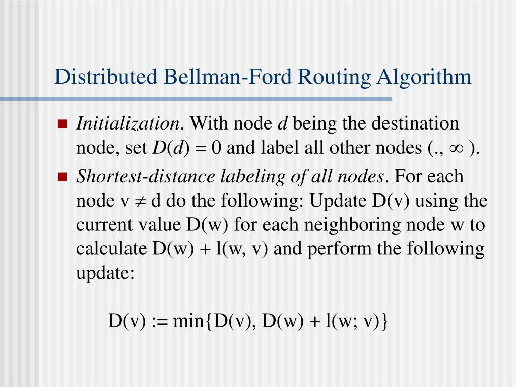 Distributed Bellman-Ford Routing Algorithm