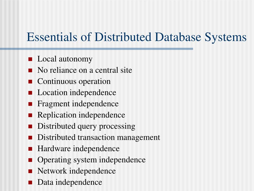 Essentials of Distributed Database Systems