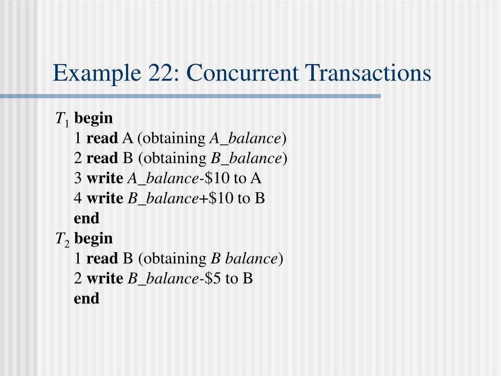 Example 22: Concurrent Transactions