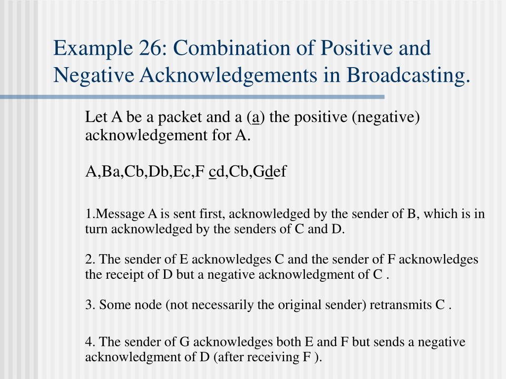 Example 26: Combination of Positive and Negative Acknowledgements in Broadcasting.