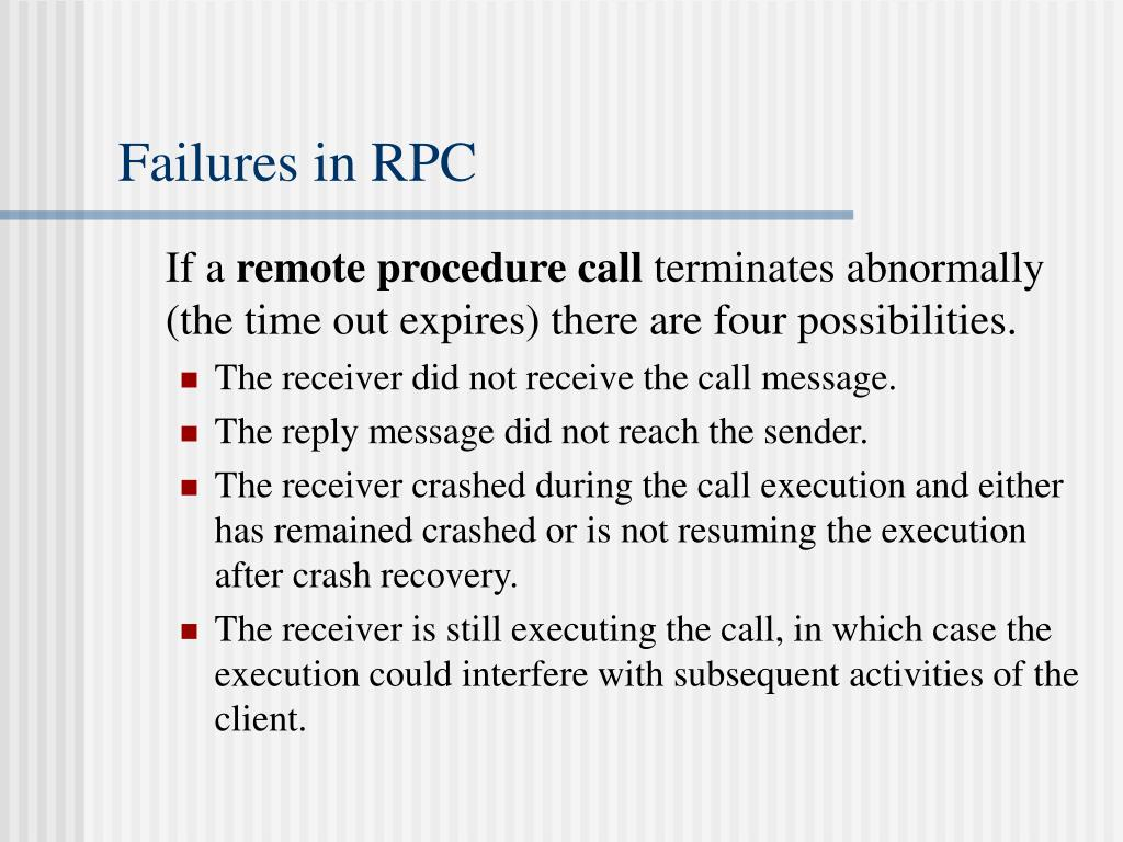 Failures in RPC