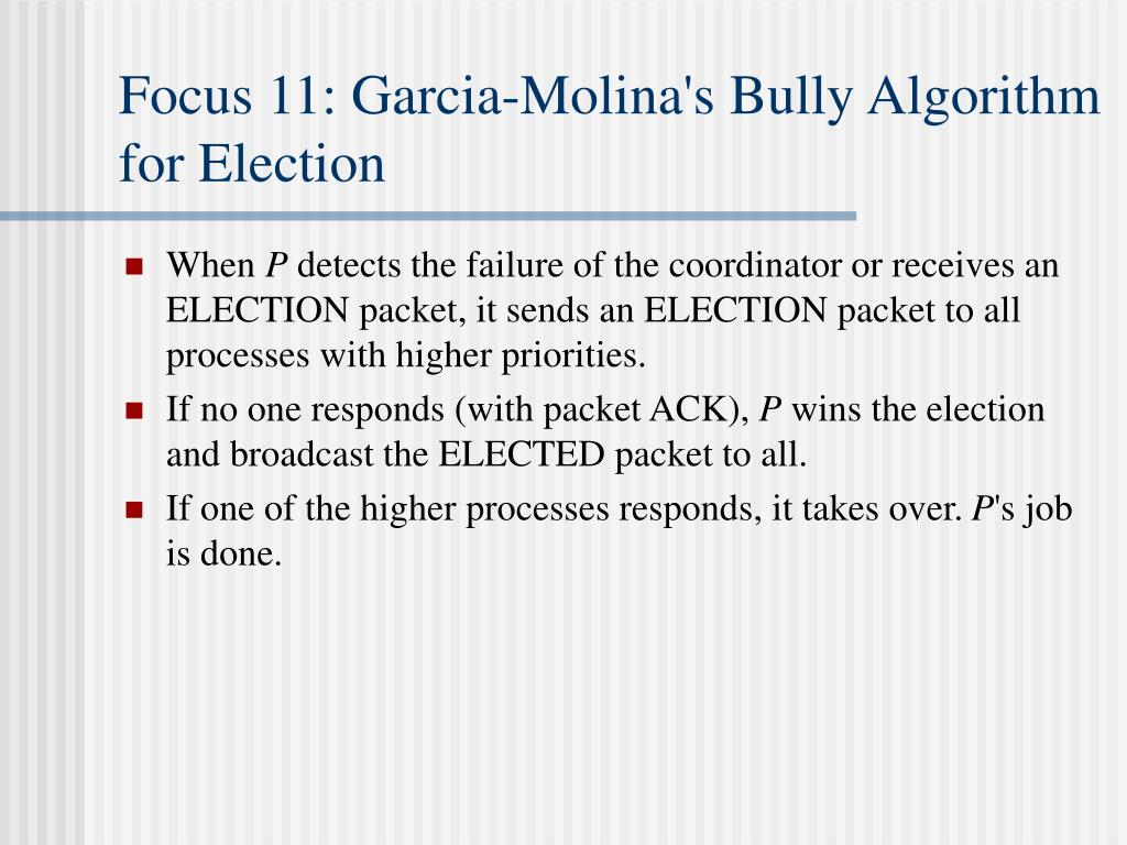 Focus 11: Garcia-Molina's Bully Algorithm for Election