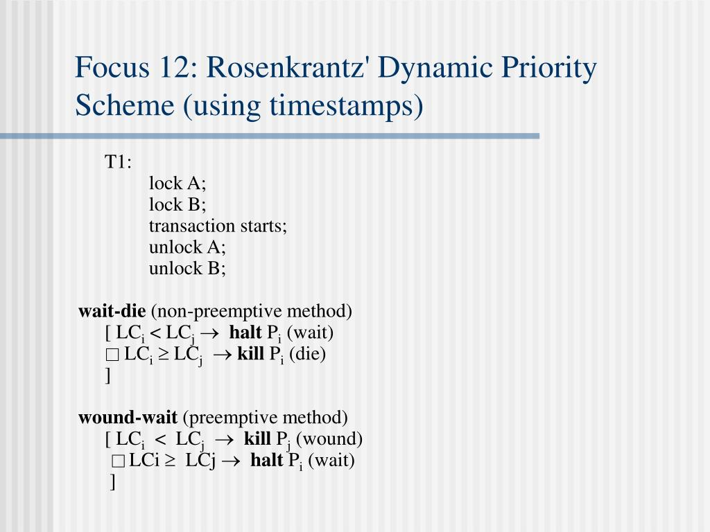 Focus 12: Rosenkrantz' Dynamic Priority Scheme (using timestamps)