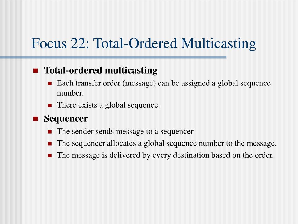 Focus 22: Total-Ordered Multicasting
