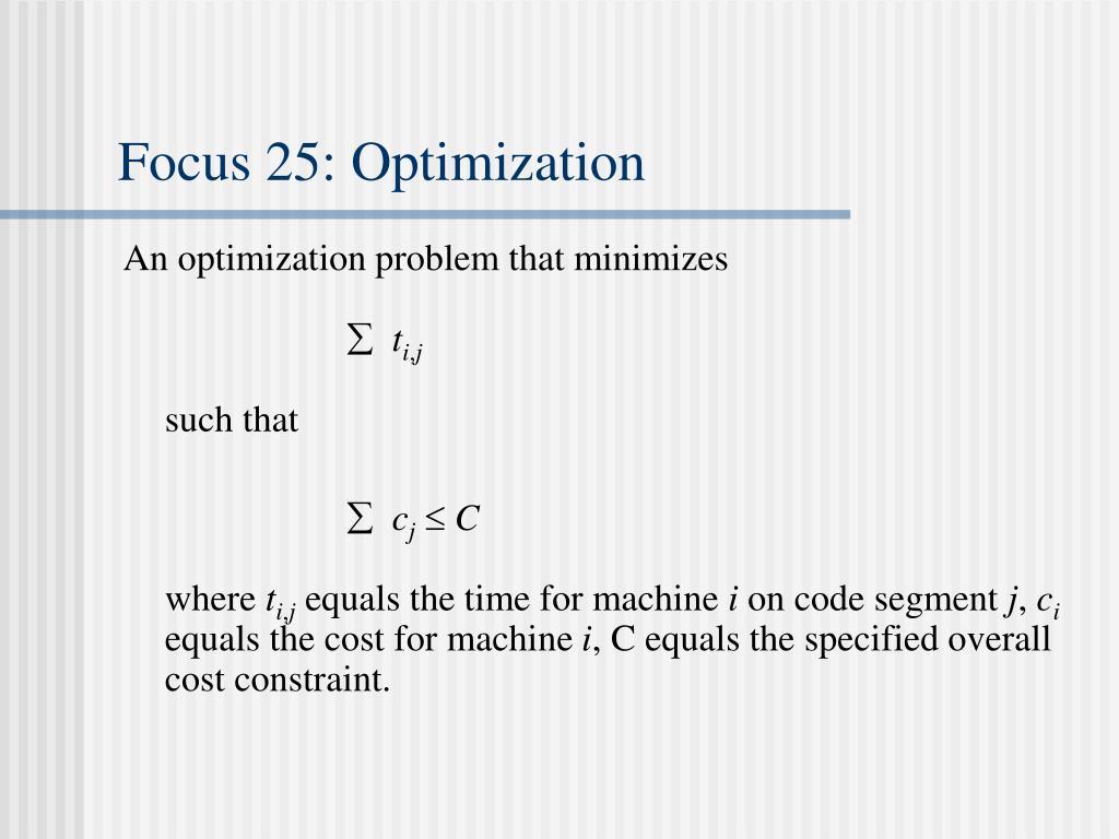 Focus 25: Optimization