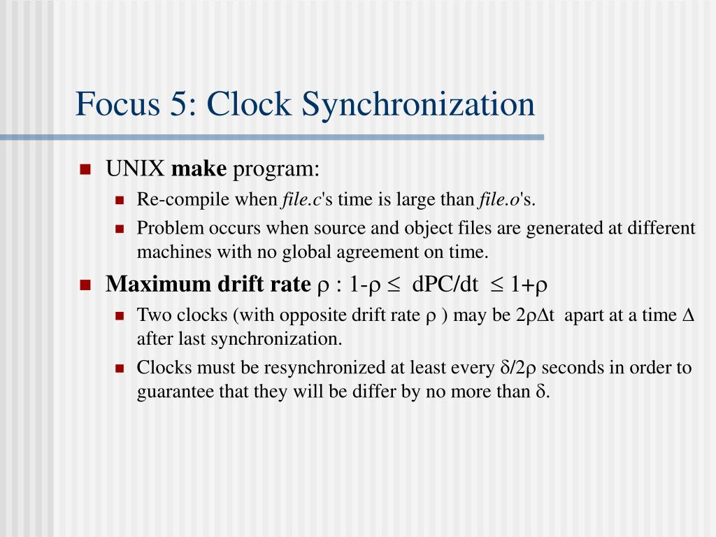 Focus 5: Clock Synchronization