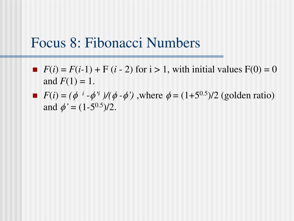 Focus 8: Fibonacci Numbers
