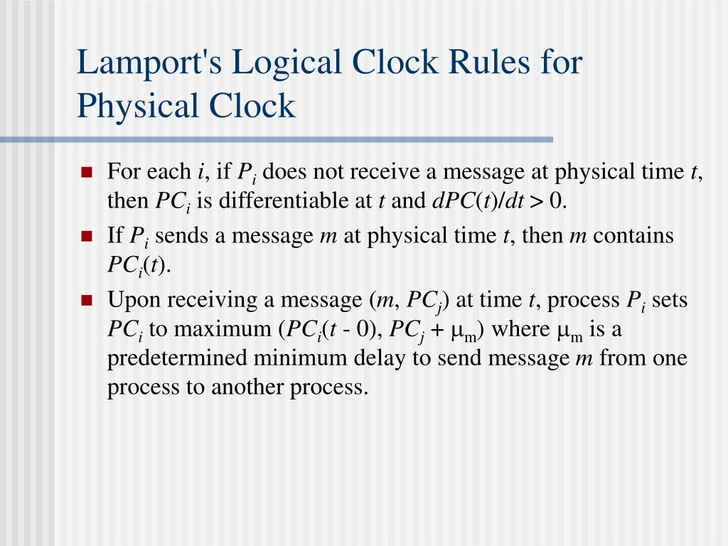 Lamport's Logical Clock Rules for Physical Clock