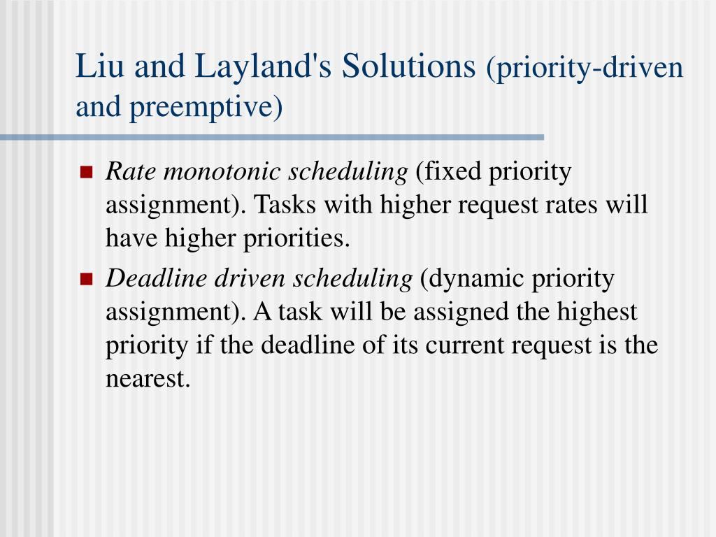 Liu and Layland's Solutions