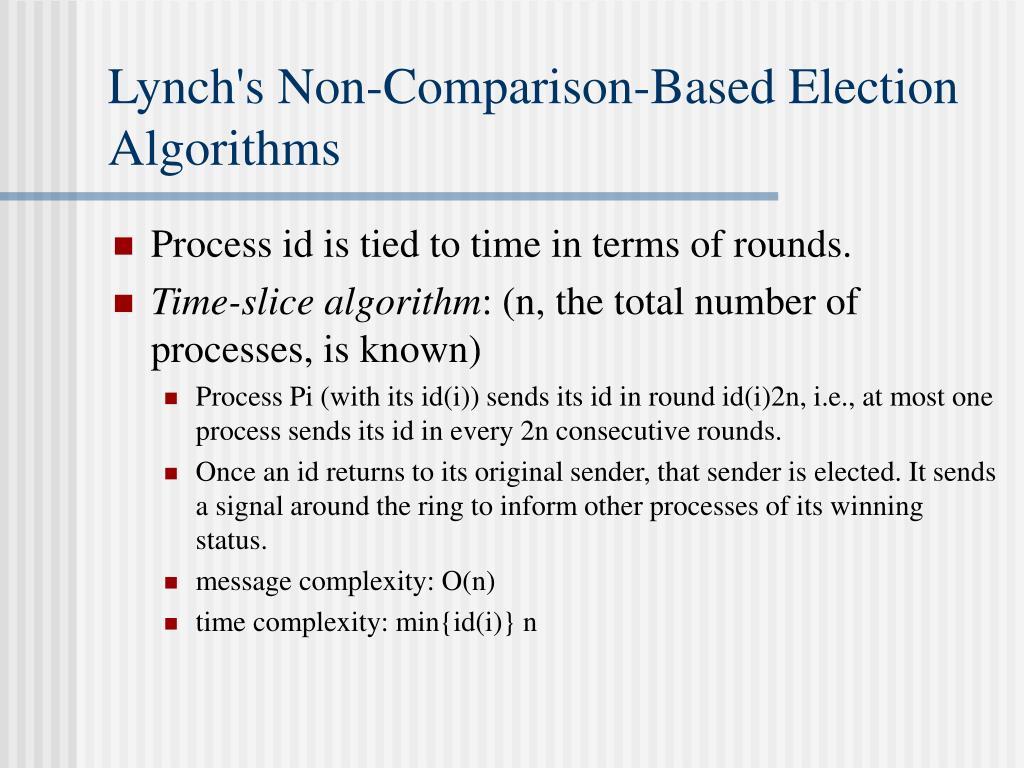 Lynch's Non-Comparison-Based Election Algorithms