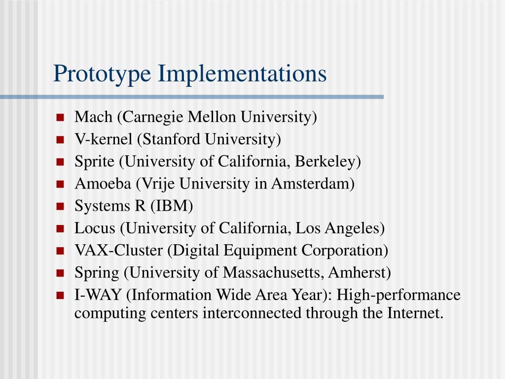 Prototype Implementations