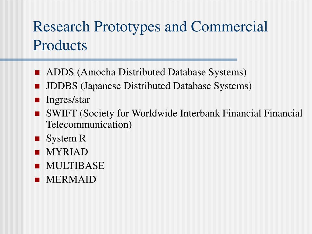 Research Prototypes and Commercial Products