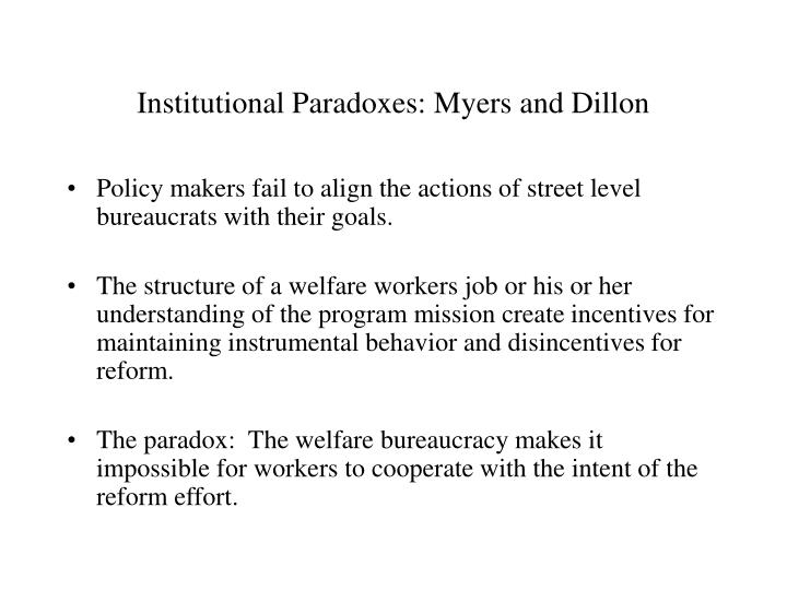 Institutional paradoxes myers and dillon